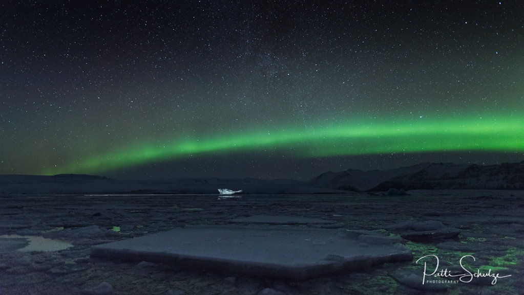 Aurora and floating ice